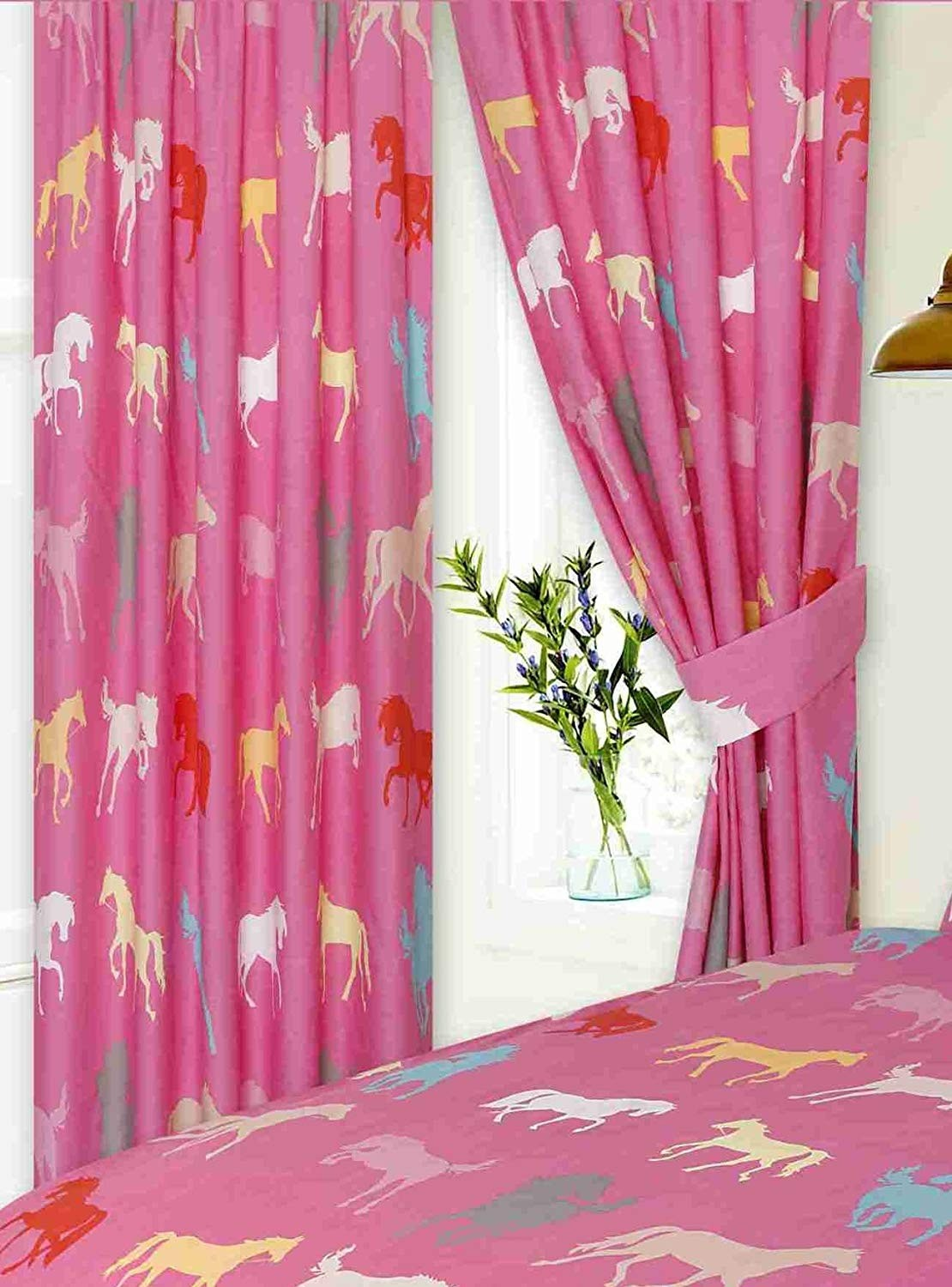 """66"""" x 72"""" Horse Silhouette Design Pink Pencil Pleat Curtains With Tie Backs"""