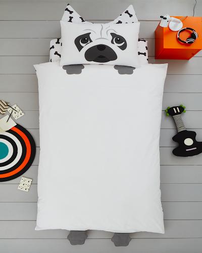 Single Size 3D Pug Dog Reversible Design Duvet Cover & Matching Pillowcase