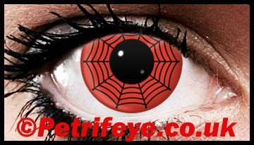 Red Spiderweb Crazy Coloured Contact Lenses