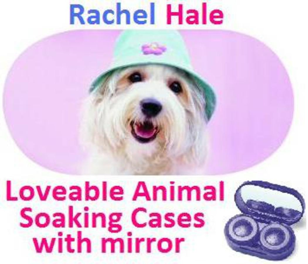 White Puppy In a Hat Rachel Hale Contact Lens Soaking Case