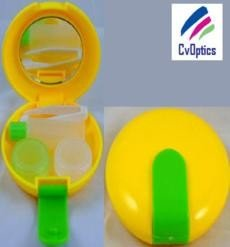 Round Yellow Contact Lens Mirror Case Ideal Travel Kit