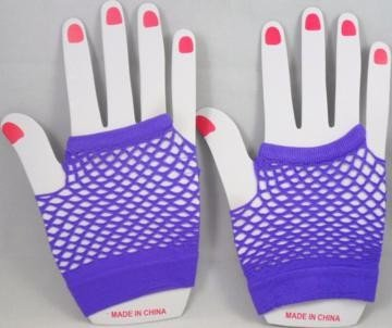 Short Neon Fishnet Fingerless Gloves one size - Purple