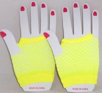 Short Neon Fishnet Fingerless Gloves one size - Yellow