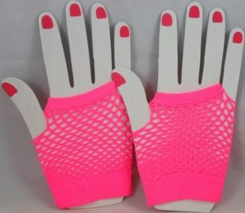 Short Neon Fishnet Fingerless Gloves one size - Pink