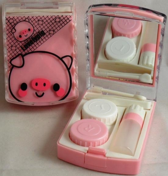 Lovely Pink Pig Contact Lens Storage Soaking Travel Kit