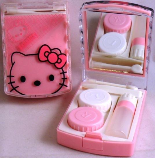 Pink Hello Kitty Contact Lens Storage Soaking Travel Kit