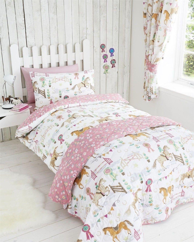 Show Jumping Pony Horse Design Pink Reverible Single Bed Duvet Cover Bedding Set