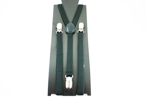 Unisex Plain Black 15mm  Fashion Braces
