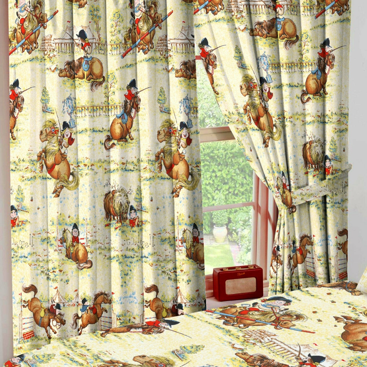 """66"""" x 54"""" Thelwell Trophy Dressage Horse Pony Cream Unlined Pencil Pleat Curtains Tie Backs"""