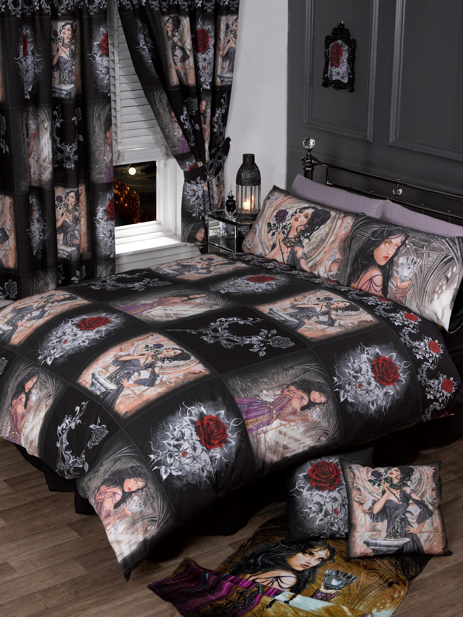 Super King Size Alchemy Story Of The Rose Gothic Duvet Cover & Matching Pillowcases