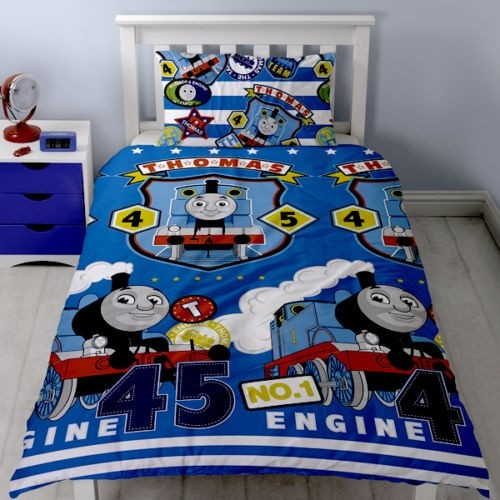 Single Size Thomas The Tank Engine Train Patch Design Rotary Duvet Cover & Matching Pillowcase