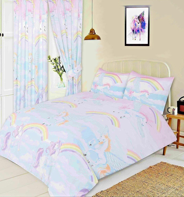 Double Size Rainbow Flying Unicorn Pegasus Design Duvet Cover & Matching Pillowcase