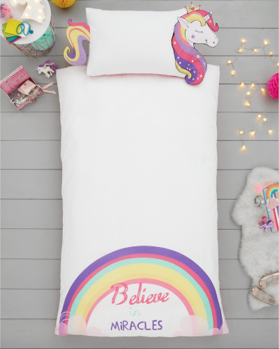 Single Size 3D Unicorn Rainbow Believe In Miracles Reversible Design Duvet Cover & Matching Pillowcase