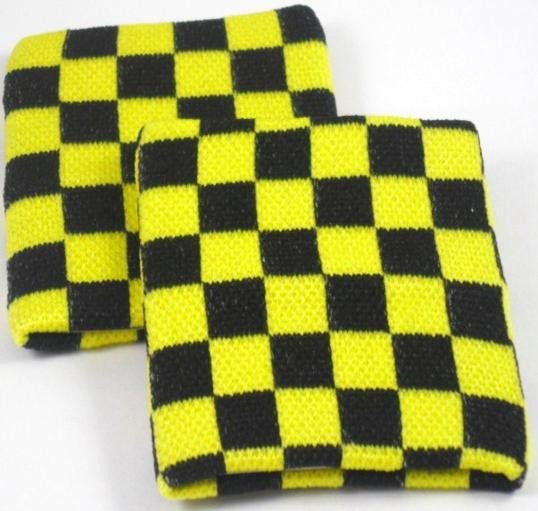 Black and Yellow chequered  Board Design Sweatband Armband