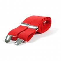 Unisex Plain Red 38mm Fashion Braces