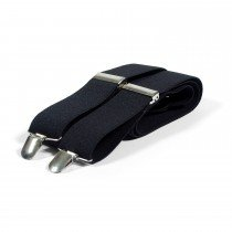 Unisex Plain Black 38mm Fashion Braces