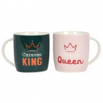 Caravan King & Queen Ceramic Coffee Tea Mug Set Caravanning Gift
