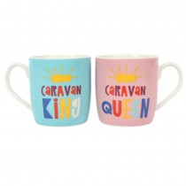 Caravan King & Queen Ceramic Coffee Tea Mug Set Caravanning Gift