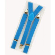 Unisex Plain Blue 25mm Fashion Braces