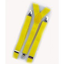 Unisex Plain Neon Yellow 25mm Fashion Braces