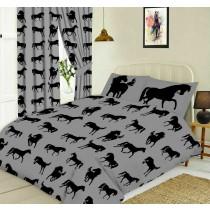 Black Horse Silhouette Design Slate Grey King Size Bed Duvet Cover Bedding Set