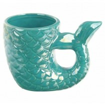 Enchanted Seas 3D Turquoise Teal Iridescent Mermaid Tail Mug