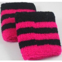 Black and Pink Striped Sweatband / Armband