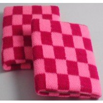 Baby Pink And Dark Pink chequered  Board Design Sweatband Armband