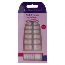 Body Collection Pink French Half Moon Nails Short Square with Glue 1070