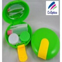Round Green Contact Lens Mirror Case Ideal Travel Kit