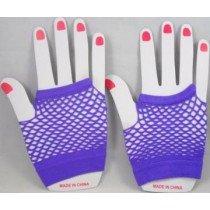 Short Neon Fishnet Fingerless Gloves one size - Purple
