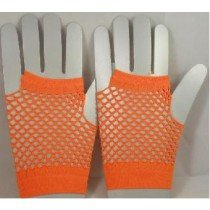 Short Neon Fishnet Fingerless Gloves one size - Orange