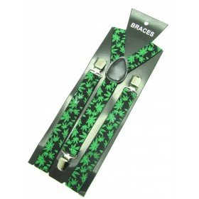 Unisex Printed Black & Green Cannabis Fashion Braces