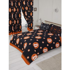 "66"" x 72"" Bitcoin Currency Logo Orange Black Design Curtains & Matching Tie Backs"