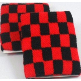 Black and Red Chequered Board Design Sweatband Armband