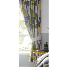 "66"" x 72"" Potted Cactus Design Curtains & Matching Tie Backs"