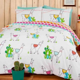 Double Size Happy Llama Design Reversible Duvet Cover & Matching Pillowcases