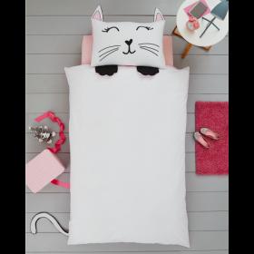 Single Size 3D Cat Reversible Design Duvet Cover & Matching Pillowcase