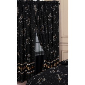 "66"" x 72"" Celestial Horoscopes Astrology Design Unlined Pencil Pleat Curtains And Tie Backs"