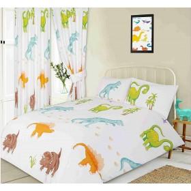 Single Size Dinosaur Design T-Rex Brachiosaurus Duvet Cover & Matching Pillowcase