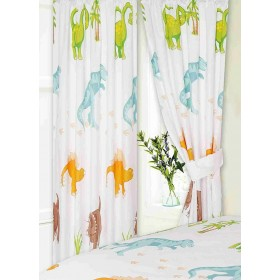 "66"" x 72"" Dinosaur Design T-Rex Brachiosaurus Curtains & Matching Tie Backs"