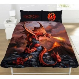 Double Size Fire Dragon Anne Stokes Design Reversible Duvet Cover & Matching Pillowcases