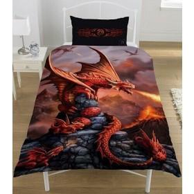 Single Size Fire Dragon Anne Stokes Design Reversible Duvet Cover & Matching Pillowcase