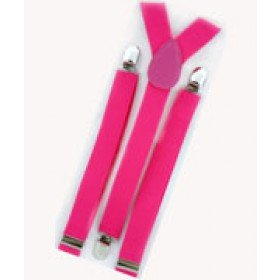 Unisex Plain Neon Pink 25mm Fashion Braces