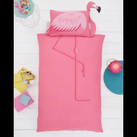 Single Size 3D Pink Flamingo Reversible Design Duvet Cover & Matching Pillowcase