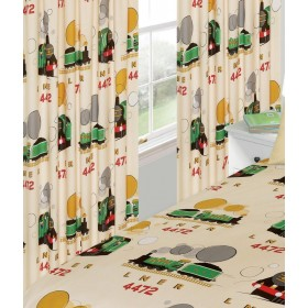 "66"" x 72"" Little Flying Scotsman Design Cream Unlined Pencil Pleat Curtains With Tie Backs"