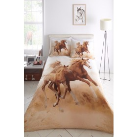 Galloping Horses Foal Stallion Pony Design Photo Quality Double Bed Duvet Cover Bedding Set