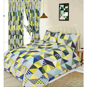 King Size Geometric Patchwork Design Lime Green, Blue Duvet Cover & Matching Pillowcases