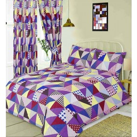 Single Size Geometric Patchwork Design Purple, Blue & Yellow Duvet Cover & Matching Pillowcase