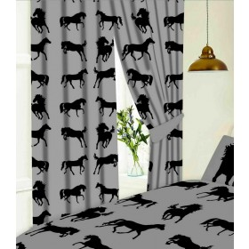 "66"" x 72"" Black Horse Silhouette Design Slate Grey Pencil Pleat Curtains With Tie Backs"